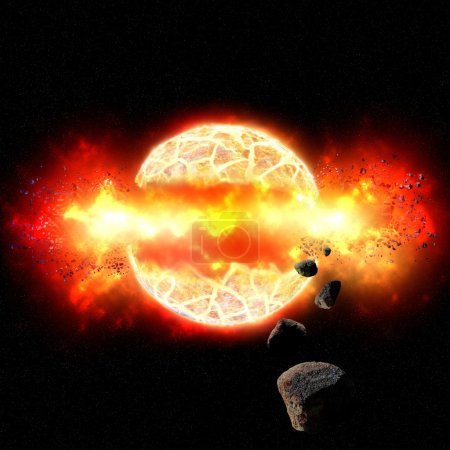 Fiery Explosion of Planet in Outer Space