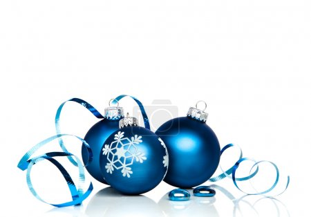 Blue Christmas Baubles With Copy Space