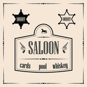 Illustration of saloon sign with two sheriff star badges all in decorative frame