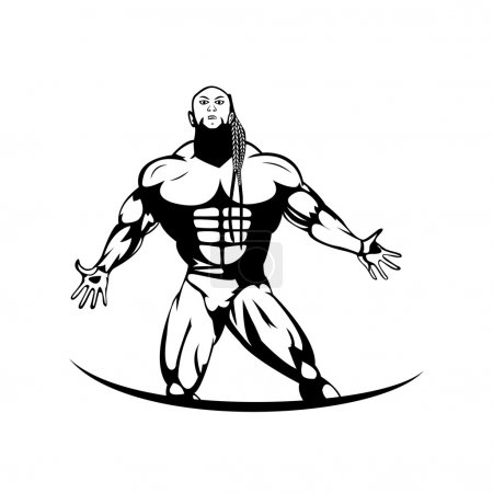 Silhouette of a professional bodybuilder