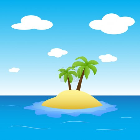 Simple illustration of an island in the middle of a sea with two small palm trees.