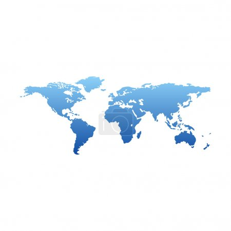 Map of the world - blue gradient silhouette over white background