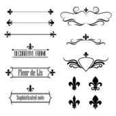 Set of calligraphic flourish design elements borders and frames - fleur de lis
