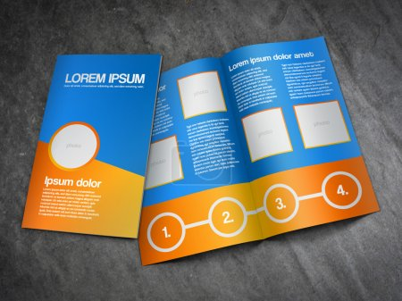 Bifold business brochure template - orange and blue