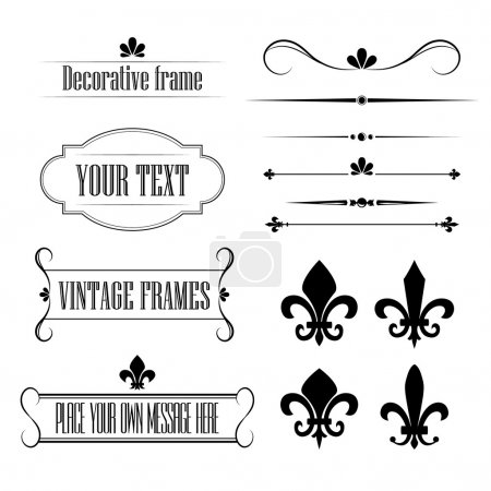 Set of calligraphic flourish design elements, borders and frames - fleur de lis vol 3