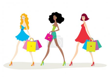 Beautiful young women with shopping bags Fashion illustration