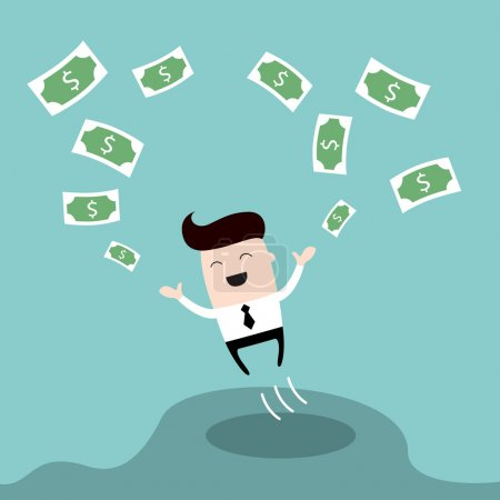 Happy businessman jumping surrounded by money Cute cartoon character Profit successful business concept