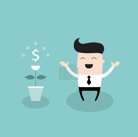 Happy businessman with dollar plant Growing money tree successful business concept