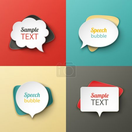 Illustration for Paper speech bubbles different shapes with the shadows eps10 - Royalty Free Image