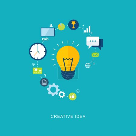 Illustration for Creative idea flat illustration with bulb and icons. eps8 - Royalty Free Image