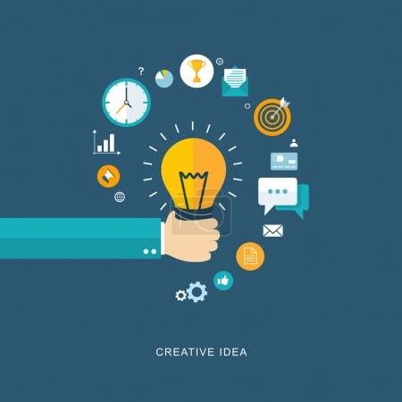Illustration for Creative idea flat illustration with hand holding bulb and icons. eps8 - Royalty Free Image
