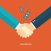 Partnership flat illustration with icons eps10