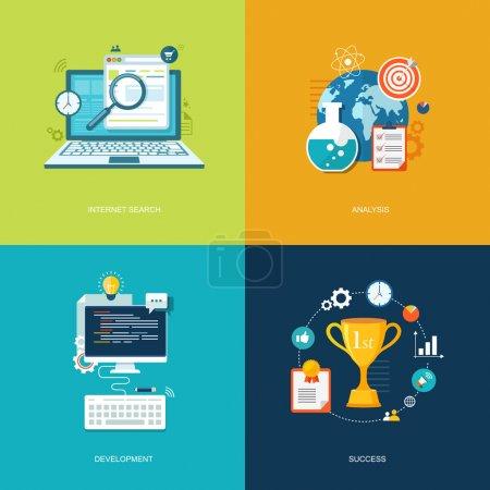 Illustration pour Ensemble de bannières plates. Recherche, gestion du temps, partenariat, exemples de succès.Eps10 - image libre de droit