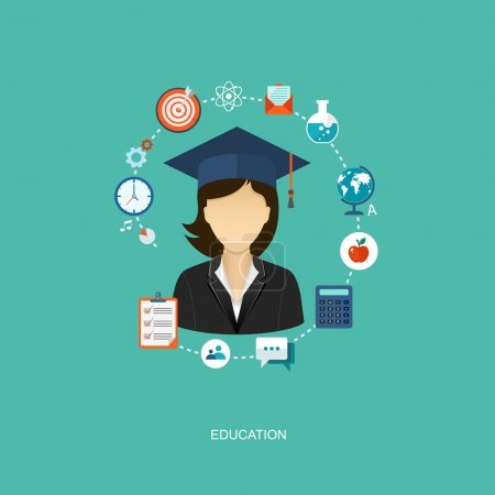 Student flat illustration with icons