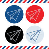 Paper plane icons on white background
