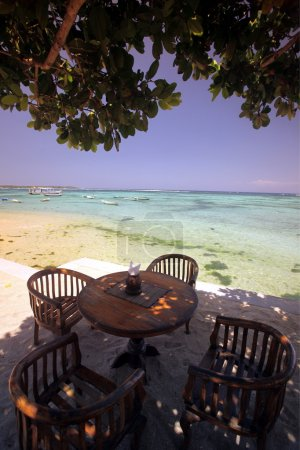 A restaurant on the beach on the island of Nusa Lembongan