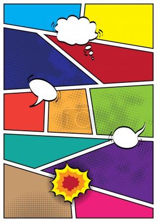Illustration pour Bande dessinée popart style disposition vierge modèle fond vector illustration - image libre de droit