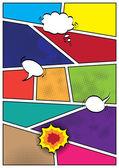 Komiks popart styl prázdné rozložení šablony pozadí