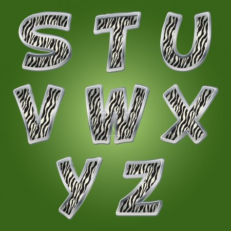 Zebra letters. Vector.