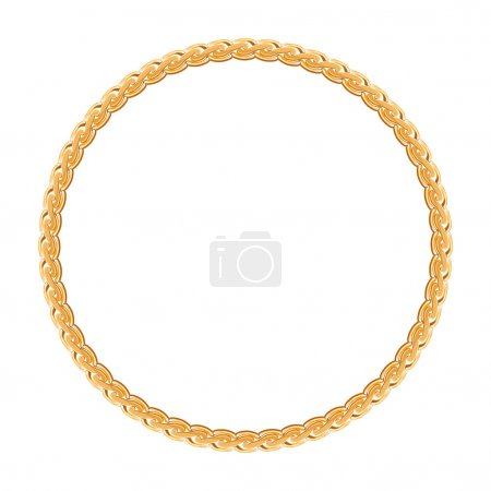 Illustration for Round frame vector - gold chain on the white background. - Royalty Free Image
