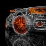 3d car model on a black background. render image w...