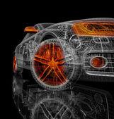 3D model auta na černém pozadí