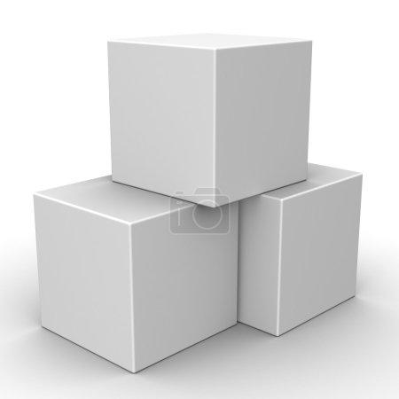 3D-Blankokästen auf weißem Hintergrund