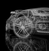 3d car model on a black background.