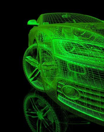 Photo pour Modèle 3d de la voiture sur un fond noir. rendu d'image avec l'éclat et la réflexion. isolé sur un fond noir - image libre de droit
