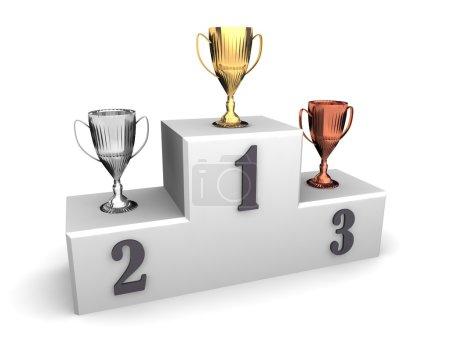 Three award goblet trophies