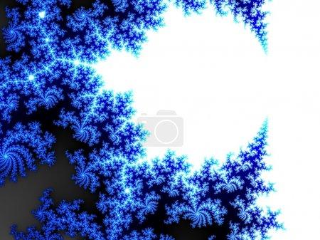 Photo pour Figurine givre fond d'hiver. Spirales fractales abstraites bleues sur fond blanc - image libre de droit