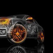 Auto s příznakem. 3D model auta na černém pozadí