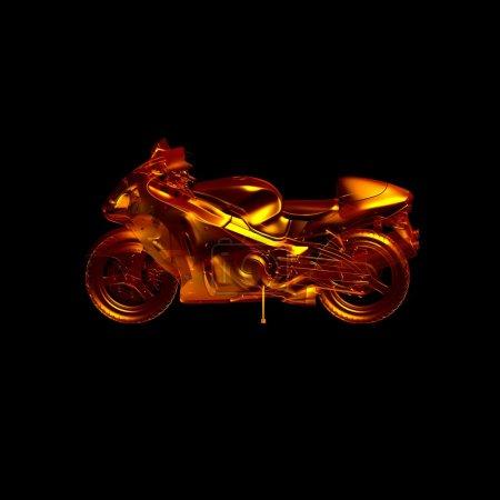 Foto de Motocicleta de fuego. motocicleta del modelo 3D. aislado sobre un fondo negro con reflejo en el piso. transporte de abstracción. concepto del deporte - Imagen libre de derechos