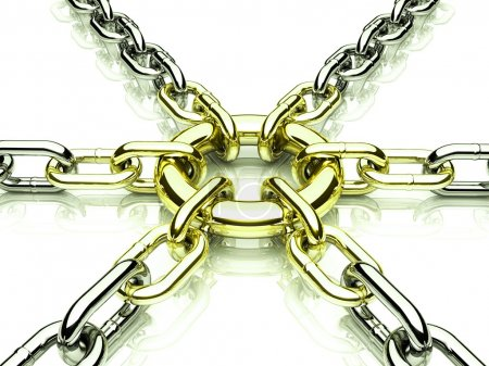 3d chain chrome cross security metal.