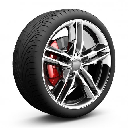 Photo for Wheels car. Car tire. aluminum wheels, isolated on white. 3d real illustration. - Royalty Free Image