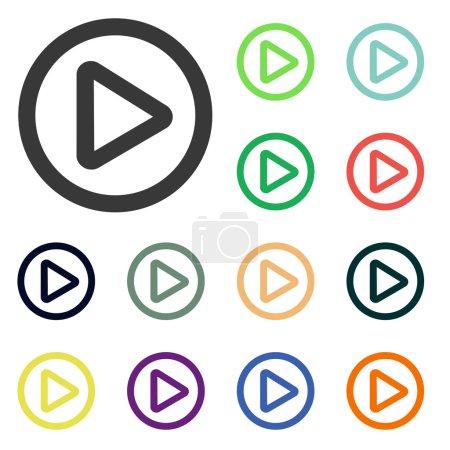 Photo pour Ensemble d'icônes web à boutons de lecture colorés. Style design plat - image libre de droit
