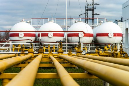 Photo for Big industrial oil tanks in a refinery base - Royalty Free Image