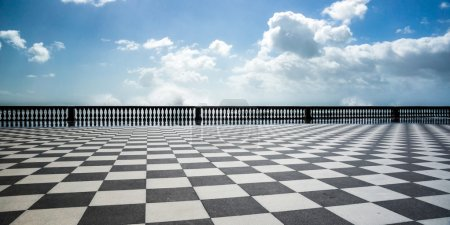 Checkered floor in city square