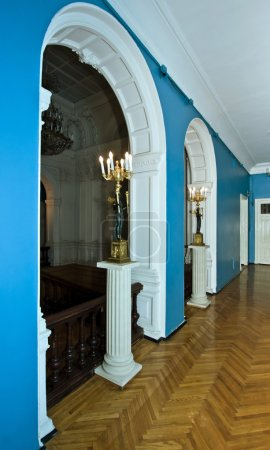 Corridor around grand hall in old palace. Russia.