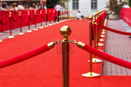 Photo for Way to success on the red carpet (Barrier rope) - Royalty Free Image