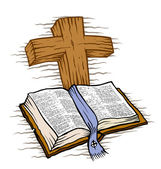 Bible and wooden cross