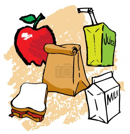 Illustration for Kids School bagged Lunch - Royalty Free Image