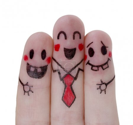 Photo for Painted  happy fingers concept on white background - Royalty Free Image