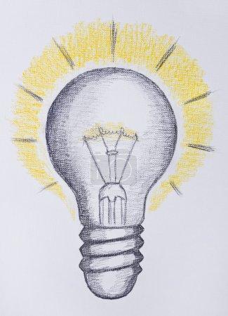 Photo pour Ampoule dessin, concept d'idée - image libre de droit