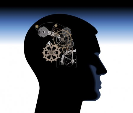 Illustration for Abstract thinking mechanical mechanical mind thoughts head - Royalty Free Image
