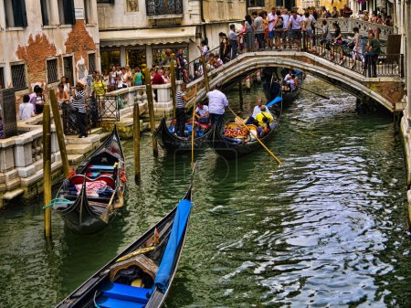 Busy Side Canal in Venice known as La Serenissima in Northern Italy is a magical place