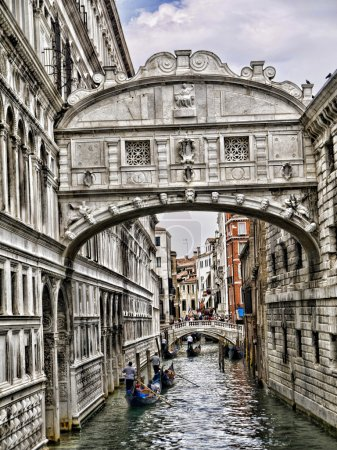 The Bridge of Sighs between the Doges palace an the State Prison in Venice Italy