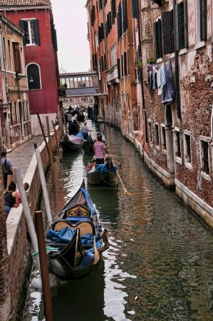 Side Canal view in Venice known as La Serenissima in Northern Italy is a magical place
