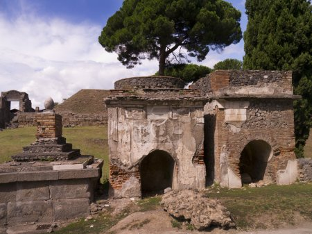 Ruins of the necropolis of the once buried city of Pompeii Italy