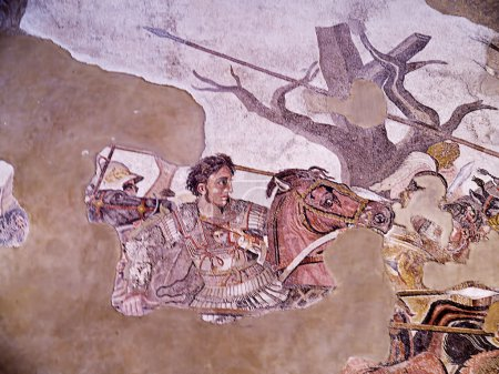 The famous mosaic of Alexander the Great from Pompeii